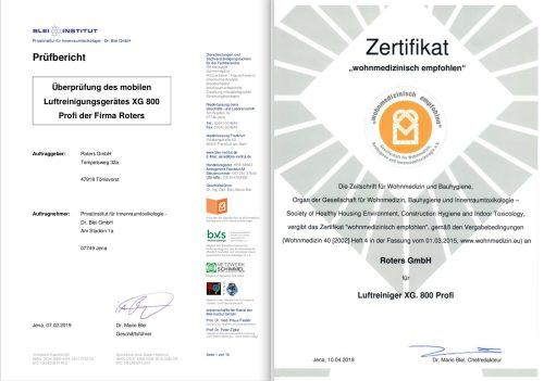 xg800 prüfbericht zertifikat 500x351 - Luftreiniger XG für gesünderes Raumklima